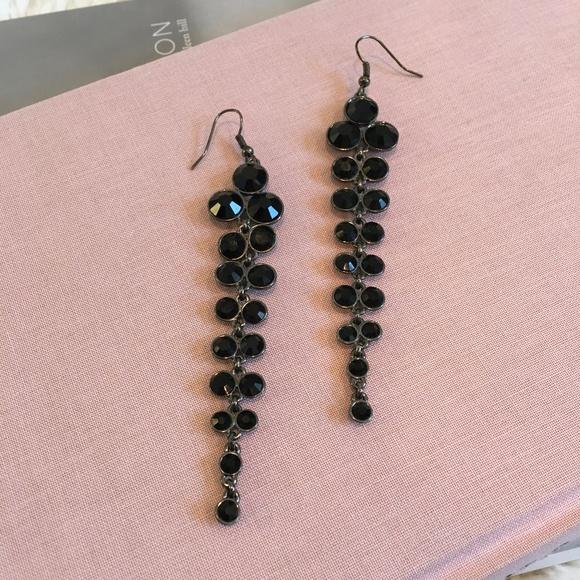 Black Stone Earrings: Long Black Stone Dangle Earrings